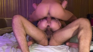TEENY ASS AND PUSSY GET FUCK IN THE SAME TIME BY HER FRIENDS, AFTER PARTY