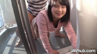 JAVHUB Japanese teen fucked from behind on the balcony