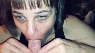 Mature Hot Wife love's sucking another mans cock and cum while husband watches and asks questions