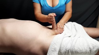 Step mom offers son REAL happy ending massage after dad went to bed.