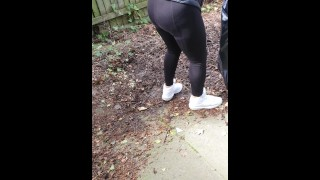 Step mom in black leggings fucked in the back yard by horny step son