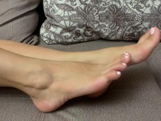 Sexy feet girl changes socks