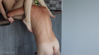 Passionate morning standing sex with petite redhead babe in the kitchen - Ruda Cat