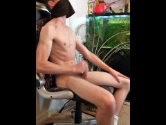 POV Hot Guy Shocked by His Fountain of Sperm He Squirts All Over Himself During Erotic Masturbating