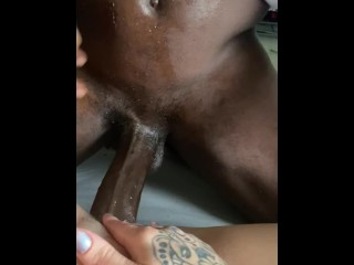 Bbc sliding in and out of wet pussy