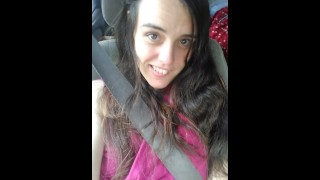 Horny Public Passenger Seat Solo Girl Car Flashing Play! Excited Hairy Pussy Slut Exhibitionist