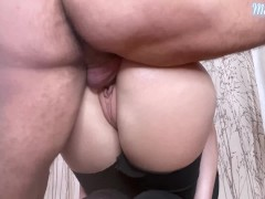 Big Ass Babe Blowjob Dick and Hard Doggystyle - Cum on Pussy