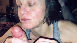 Mature Hotwife sucking and draining our friends cock while I record and ask dirty questions