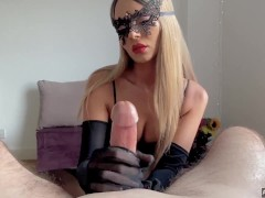 Adeline Murphy Does A Handjob With Nylon Gloves, Fucks And Receives Cumshot On Face