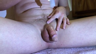 Shooting a hot load of cum after lubing up this cock and getting hard for you