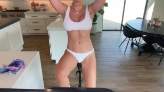 Fitness babe horny workout. Spin class in Lulu thong. Round ass. Peloton. Naked cycle. 4k