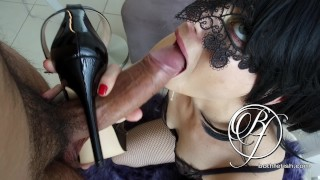 Blonde young hotwife gives me a high heeled sloppy blowjob, Sex slave