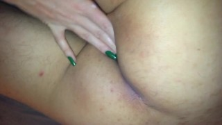 Girlfriend jerking dick and touch boyfriend skinny body,show here asshole.