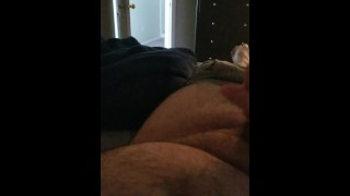 Stroking my cock and cuming in front of my hot wife