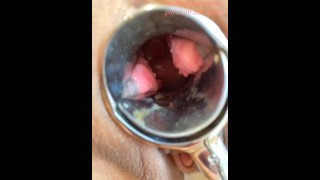 Watching in the vagina with a speculum, Female squirting with two vibes, long anal beads