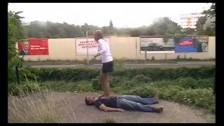 outdoor trampling in pantyhose