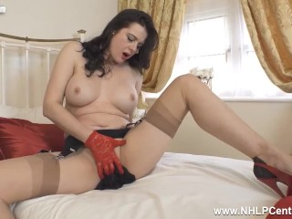 Hot busty Milf Karina Currie wanks in red lace gloves high heels and vintage nylons