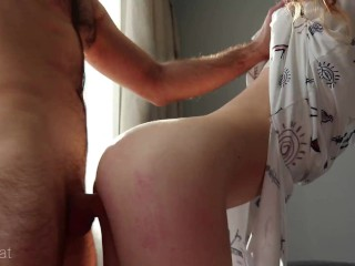 Passionate sex on balcony with petite redhead babe ends with huge cumshot – Ruda Cat