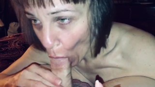 Granny hot wife sucking the life out of our friends cock while I watch and ask her questions