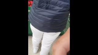 Step mom seduced and fucked by step son in the supermarket while Husband shopping food
