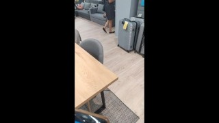 Polish milf walking in furniture store walking with vibration egg's