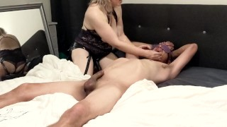 Femdom feeds him his own cum after hard passionate pegging - MIN MOO
