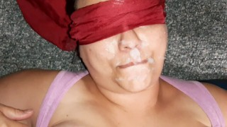 Emptying a huge load onto stepmoms face. Shes blindfolded and didnt know who did it!!