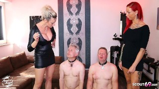 German Femdom Domination Spit and Smoking Session with 2 Slaves