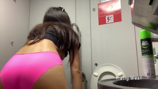 Screen Capture of Video Titled: Extreme on the train. Teen girl took off her panties and pee in public