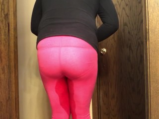 Girlfriend peeing tight pink pants