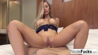 Gorgeous Nicole takes on a muscular stud until he cums inside her!