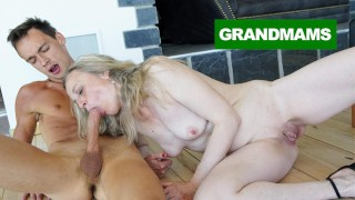 Sleazy Granny fucks Virgin cleaning boy