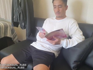 Caught friend looking at porn ! Japanese boys compare cock sizes and have threesome sex