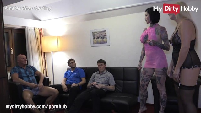 MyDirtyHobby - 2 Busty MILFS get swapped by 4 friends in a hotel room orgy