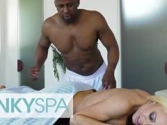 KinkySpa - Curvy Blonde Milf Nikki Delano Plowed By a Big Black Cock On a Massage Table