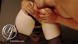 Mistress makes me worship her ass with my mouth, ass licking, fingering lingerie fetish
