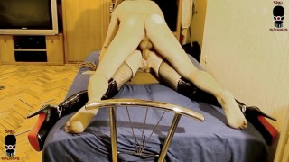 INTRO-Spreadeagle chained & penis gagged slut hard whipping and ass hammering
