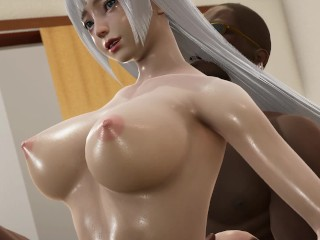 Honey select 2 Beautiful white-haired girl and two strong men 3P