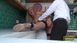 PASCALSSUBSLUTS - UK MILF Rebecca Smyth Pumped in the Kitchen