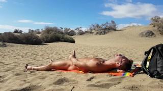 Jerking off in the dunes of Gran Canaria