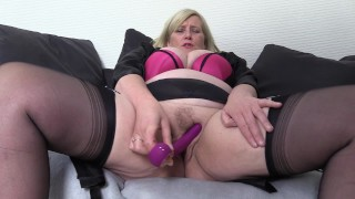 Filthy Big Tit Step Mom in stockings, tests out her new Vibrator deep in her wet Pussy