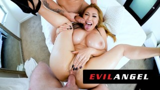 Screen Capture of Video Titled: EvilAngel - Stacked Asian MILF Kianna Dior's Sloppy Threesome