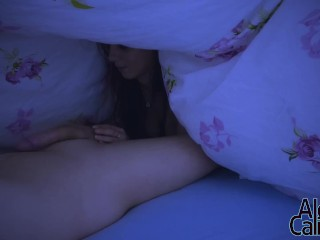 Secretly snuck under stepdaddy's blanket at night to jerk him off