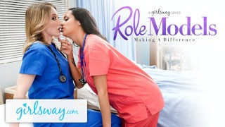 Screen Capture of Video Titled: Girlsway Hot Rookie Nurse With Big Tits Has A Wet Pussy Formation With Her Superior