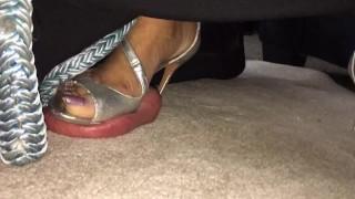 Asian massage silver heels