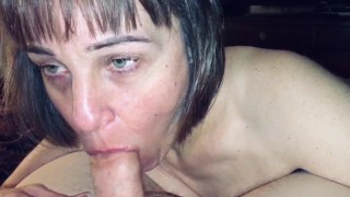 Granny Wife loves sucking cock dry. Should she do a glory hole video?
