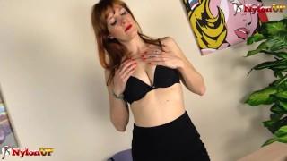 Redhead secretary in pantyhose masturbates with her sex toys