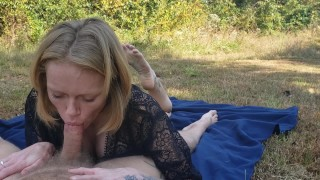 Milf blowjob and feet, she failed to swallow though