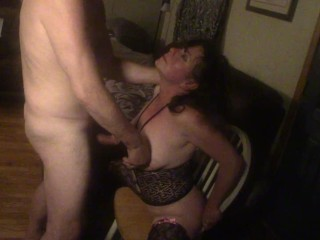 NYMPHO WIFE 1ST THICK WHITE DILDO RIDE