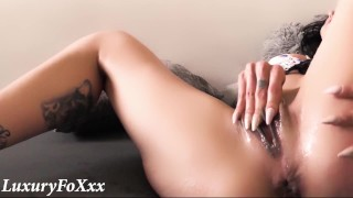 Horny babe fingers her pussy until multiple SQUIRT orgasms!